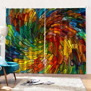 Creative 3D Digital Print Window Drapes 2 Panel Set Bedroom Curtains