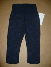 NWT Lululemon TRAIN TIMES CROP size 4 Camo Navy Black High Rise Luxtreme Mesh