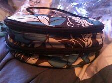 Brown Turquoise Floral Vanity Bag Empty Bottles/Jars/Spatula travel makeup bag