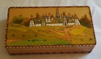 Hand painted poker work vintage Art Deco antique landscape box