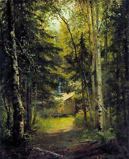 Oil painting Ivan Shishkin - Сторожка в лесу the gatehouse in the woods canvas