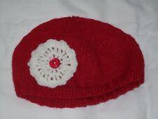 Ladies Hand Knit Red Beanie Hat with Cream Crocheted Decoration - Small - BNWOT