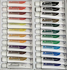 24 Color Acrylic Paint Tube Set 12ml, Beginner And Professional Artist Pigment