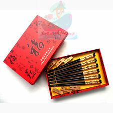 SET 6 Pairs Chopsticks/Rests/Box wooden Pyrograph Carved Chinese Bamboo design