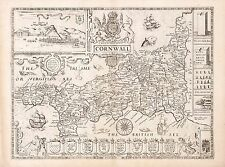 Old Vintage Cornwall England decorative map Speed ca. 1676 paper or canvas