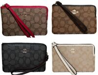 Coach Signature Jaquard Wristlet Wallet Single Corner Zip F58033 Dust Bag