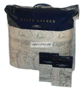 RALPH LAUREN Mariella Paisley Grey KING COMFORTER SET NEW $720 COTTON SATEEN