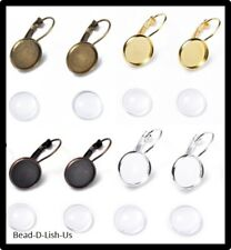 10 x 12mm French Earring Lever back Glass cabochon Bezel DIY Choose Colours