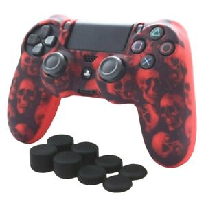 Silicone Grip Red Skulls + (8) Multi Thumb Caps For PS4 Controller