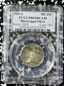 2002-S U.S. 25 Cents PCGS PR69DCAM Lot#BB92 Silver! Mississippi State Quarter