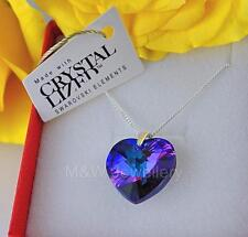 925 STERLING SILVER NECKLACE CRYSTALS FROM SWAROVSKI® HEART HELIOTROPE AB 18MM