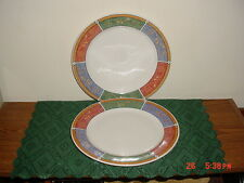 "2-PIECE MAJESTICWARE ""PERSIA"" 10 3/4"" DINNER PLATES/GREEN-CORAL-BLUE/FREE SHIP!"