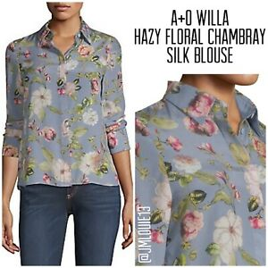 Alice + Olivia Willa Hazy Floral Chambray Silk Blouse Top $295 Sz Small 4 6