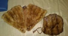 vintage mink stole and Muff blonde brown mink heads.                          21