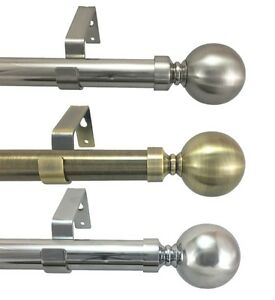 19mm & 28mm Diameter Extendable Eyelet Metal Curtain Pole Chrome Brass Black