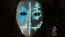 Neon Gothic Lace Face Rave Handmade Light Up Rave Glow Halloween Costume MASK!