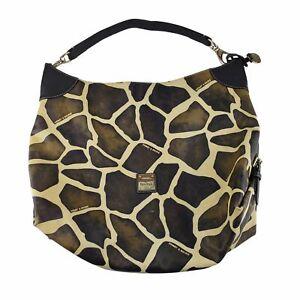 Dooney Bourke Oversized Giraffe Print Leather Hobo Bag Handbag Purse Pink Liner