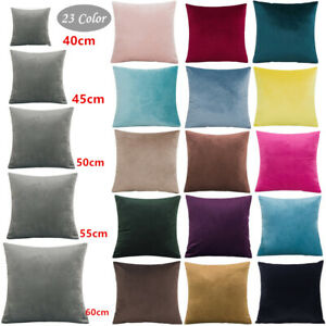 40/50/60cm Velvet Cushion Cover Plain Soft Throw Pillowcase Home Sofa Decorative