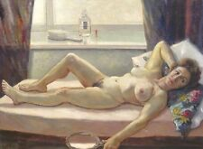 Huge 20th Century English Studio Nude Portrait Naked Lady Reclining St Ives