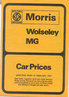 Morris MG Wolseley Price List 74 Mini Marina Vanden Plas 1300 1800 MGB Midget