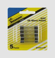 5pk Bussmann Buss Fuses BP/AGC-2-RP, 2 Amp AGC Glass Fuse Mini Automotive NEW!!!