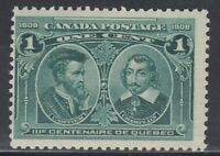 "Canada MINT NH Sc#97i HAIRLINES 1c Cartier & Champlain ""Quebec Tercentenary"" F"