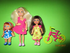 B204-BARBIE CHELSEA+SHELLY MATTEL+FAHRRAD FÜR SHELLY+NO-NAME SHELLY SEHR GUT
