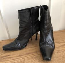 Angle Boots Black Leather Size 7