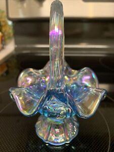 Fenton BLUE CARNIVAL DAISY PANEL Mini Miniature Basket