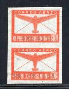 1940 ARGENTINA AIRMAIL 30c AIRPLANE IMPERF PAIR MNH VARIETY, HIGH VALUE