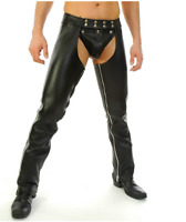 Men's Real Leather Chaps With Leather Brief / Leather Gay Chaps