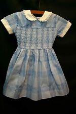 3 Toddler Girls Vtg 50s 60s Blue Plaid Smocked Metallic Full Skirt Dress Childs