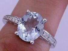 s R169 - Genuine 9ct Solid White Gold NATURAL Aquamarine & Diamond Ring size 7.5