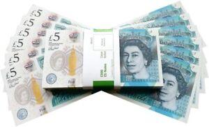 £5 GBP FAKE MONEY 100 NOTES - NEW EDITION - Movies Play Fake Cash Casino Photo
