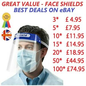 FULL FACE SHIELD SAFETY VISOR COVER MASK PPE ANTI-FOG