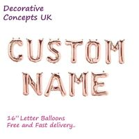 """Custom Words Rose Gold Balloons Letters Party Custom Name 16"""" Foil Decoration"""