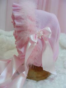ADULT BABY SISSY BONNET soft pink fleece  COSPLAY  LOLITA FANCYDRESS ROLPLAY
