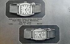 Vintage 1936 GLYCINE WATCHES men women watch jewelry ad catalog page x2