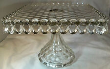 "FOSTORIA AMERICAN CRYSTAL 10"" SQUARE PEDESTAL FOOTED CAKE STAND  or SALVER!"