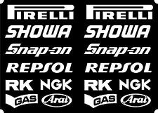 16 x Belly Pan Fairing Sponsor Sticker for cbr vfr fireblade in White