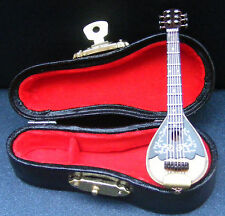 1:12 Scale Wooden Mandolin In A Black Case Tumdee Dolls House Instrument 153