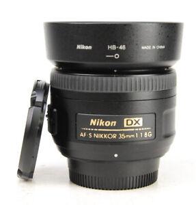 Nikon AF-S 35mm F1.8 G DX Autofocus Nikkor Lens + Front & Rear Lens Cap & Hood