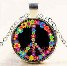 Flower peace symbol Cabochon Tibetan silver Glass Chain Pendant Necklace #3977