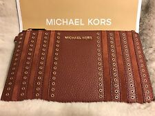 NWT MICHAEL KORS LEATHER MINI GROMMETS LARGE ZIP CLUTCH/WRISTLET IN BRICK