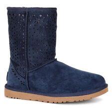New UGG Australia Classic Short Flora  Perf Boots Women's Blue Sz 7 Sheepskin