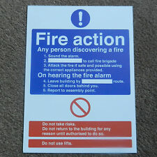 FIRE ACTION YOUR ASSEMBLY POINT - LARGE HEALTH AND SAFETY WATERPROOF STICKER