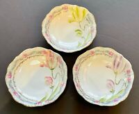 3 Beautiful Hand Painted Cream Soup Bowls W/ Raised Pastel Painted Flowers