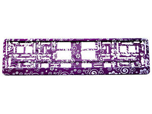 PURPLE FLOWERS 3D TUNING Car Number Plate Surround Holder FOR ANY CAR TRUCK VAN