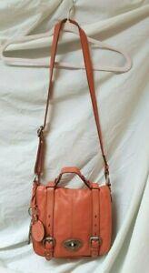 Fossil Maddox Crossbody Organizer Messenger Handbag Purse in Salmon Pink / Coral