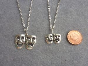"""Theatre Drama Tragedy & Comedy Masks Charm Pendant Necklace 18"""", 20"""" Chain Gift"""